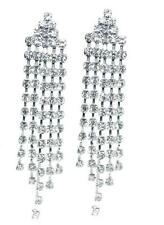 CLIP ON Dangle Long RHINESTONE Sparkly Tassel Earrings Diamante Chandelier Drop
