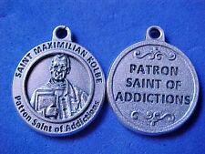 "St MAXIMILIAN KOLBE Patron St of ADDICTIONS Saint Medal Silver Oxidized 3/4"""