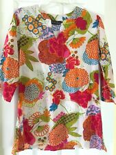KikiSol M Bold Bright Floral Print Tunic Top Beach Cover-Up Dress Resort Cruise