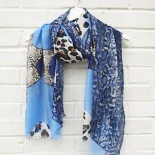 Geo Animal Print - Blue Scarf. wrap, ladies sarong, wife present.