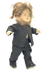 """Antique Composition 12"""" Boy Doll Mohair Wig and Beard Amish boy"""