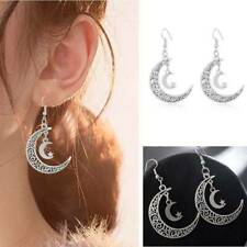 Retro Vintage Silver Crescent Moon Earring, Luna Lunar, Moon Dangle Earrings