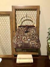 Vintage Satchel Bag Beaded Purse Bamboo Frame & Handles