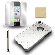 For iPhone 4 4S Silver Chrome Protective Case Cover + Screen Film + Stylus Pen