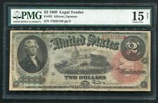"FR. 42 1869 $2 TWO DOLLARS ""RAINBOW"" LEGAL TENDER UNITED STATES NOTE PMG FINE-15"