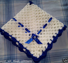 "LOVELY HAND CROCHET BABY DOLL BLANKET:WHITE & ROYAL BLUE RIBBON 18"" x 18"""