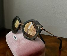NWT MIU MIU NOIR CATWALK Cat Eye Dark Tortoise Frame Mirror Lens Sunglasses $420