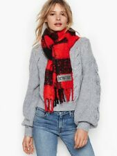 VICTORIA'S SECRET VS SOFT WINTER ANGEL SCARLET BUFFALO PLAID SCARF - BLACK & RED