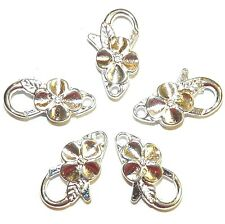 MX7206L Bright Silver Large 25mm Flower Design Lobster Claw Focal Clasp 25pc