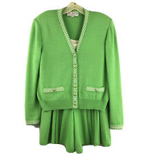St Johns 3 Piece Suit with Shorts Blazer Tank Bright Green Vintage Size S / 2