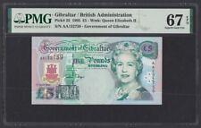 Gibraltar 5 Pounds 1995 Elizabeth II, Tarik Ibn Zeyad UNC (Pick 25) PMG-67 EPQ