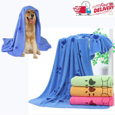 More details for microfibre large dog/cat towel super soft and very absorbent paw print design