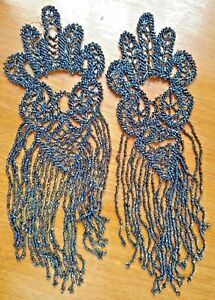 Antique Victorian hand sewn jet beaded epaulettes RARE collectors steampunk