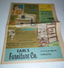 1960's Sales Catalog Earl'S Furniture Co. Bedford Va Tv's Appliances Ac's Fans
