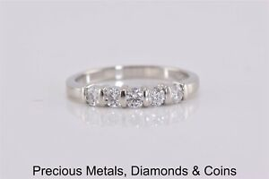 Platinum .50 TCW VS H Natural Diamond Bar Set Band Ring Sz: 7.5