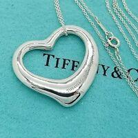 Tiffany & Co. Sterling Silver Open Heart Pendant Chain Elsa Peretti Necklace