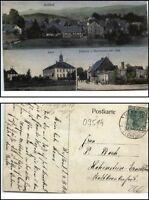 1913 Stempel REIFLAND Flöhatal a/ Mehrbild-AK Schule, Restaurant Geschäft Claas