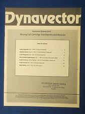 DYNAVECTOR COIL CARTRIDGE TEST REPORTS REVIEWS 1980 BROCHURE 15 PAGES