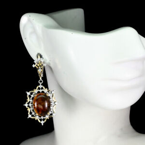 Natural Oval Orange Amber Poland 16x12mm Cz 925 Sterling Silver Earrings
