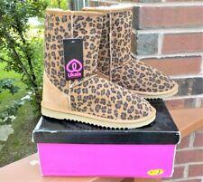 NIB Ukala Ally Leopard Print Chestnut Suede Wool Lined Short Boots Women Size 9