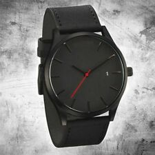Men's Fashion Casual Sport Stainless Steel Case Leather Band Quartz Wristwatches