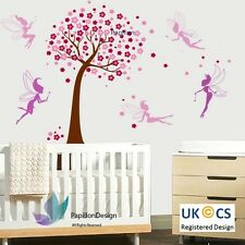 Rose cherry tree fleur violet fée nursery baby girl wall decal sticker