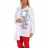 Damen Bluse Hemdbluse Vokuhila Longbluse Tunika Print Bikerlook Weiß S M L XL