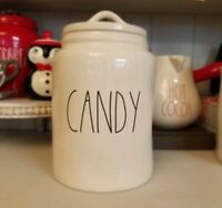 "New RAE DUNN  Black LL ""CANDY"" Large Canister By Magenta  Farmhouse"
