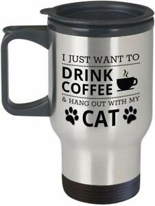 Cat Owner theme 14oz Silver Travel Mug Insulated Christmas gift