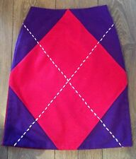 Gorgeous MOSCHINO Red & Purple Argyle Pattern Skirt Split Sides Size 12 Fit 10