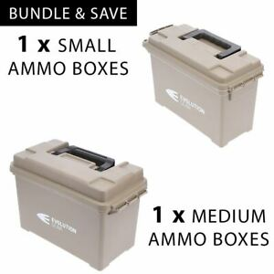 1 x Medium +Small Ammunition Case Weatherproof Ammo Boxes / Dry Boxes Desert Tan