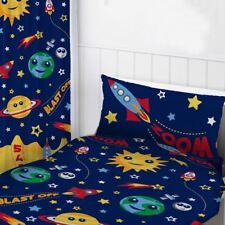 "SPACE PLANETS READYMADE CURTAINS BEDROOM 66"" x 72"" KIDS BOYS BLUE"