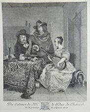 Gerard Ter Borch II (1620-1683) - The Concert; a woman with Lute - etching 1771