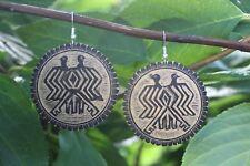 Folk Art Oaxaca Mexico hippie Boho Double headed Bird Earrings Hand Carved Gourd