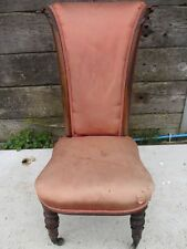 Unusual Victorian Rosewood upholstered scroll back nursing chair (ref 129)