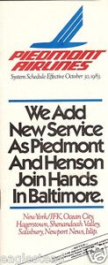 Airline Timetable - Piedmont - 30/10/83