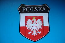 2  POLAND  POLSKA  FLAG SHIELDS  CAR WINDOW BUMPER  STICKERS MOTORBIKE HELMET