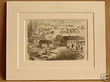 CATTLE RANCH CALIFORNIA USA RARE ANTIQUE MOUNTED ENGRAVING FROM 1876 PUBLICATION