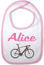 Bavoir Bébé Rose Vélo avec Prénom Personnalisé