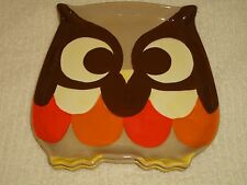 Retro Owl Dinner Meal Children Glass Plates Set of 2 Orange Brown Halloween Fall