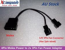 4Pin Molex LP4 Power to Two 2x 3Pin Case Cooling Fan Converter Adapter 12V 20cm