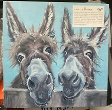 Louise Brown Double Trouble Donkeys Wooden Block Rope Mounting Brand New Sealed