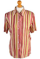 Womens Casual 70s Blouse Short Sleeve Crew Neck Striped Ladies Multi S SH2790
