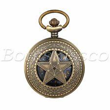 Antique Vintage Bronze Hollw Pentagram Roman Numerals Quartz Pocket Watch Gift