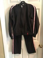 Vintage 90s Sweatsuit Sz Small Black White Red StripeTrack Jacket Pants Athletic