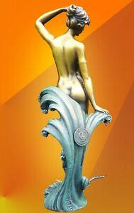 ART DECO BRONZE STATUE WAVE SIGNED PREISS FIGURE HOT CAST NUDE LADY FIGURINE