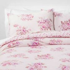 SIMPLY SHABBY CHIC Twin Comforter Sham Set BOUQUET Pink Roses Cotton NWT