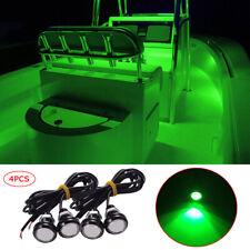 4X GREEN LED Boat Light Waterproof Outrigger Spreader Transom Underwater Troll