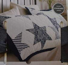 Farmhouse Country Cottage Paisley Stripe Cotton Quilted Pillow Sham Blue STAR~BN