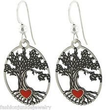 Tree of Life with Red Heart Earrings - 925 Sterling Silver Earwire - Celtic Life